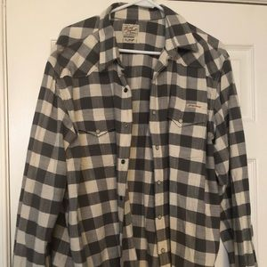 Men's Lucky Brand Gray and White Checkered Shirt